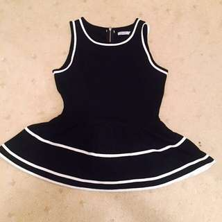 *New* Valleygirl White Lined Black Peplum Top - Size Small