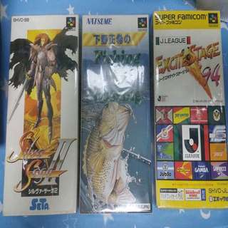日本原裝超級任天堂盒帶三盒齊說明書