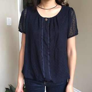Navy silky blouse