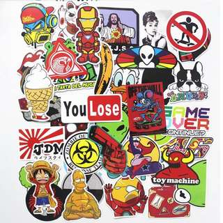 Laptop Sticker Skateboard Luggage Snowboard Phone Fridge Fashion cool DIY Stickers toy Styling home decor Stickers 100pcs