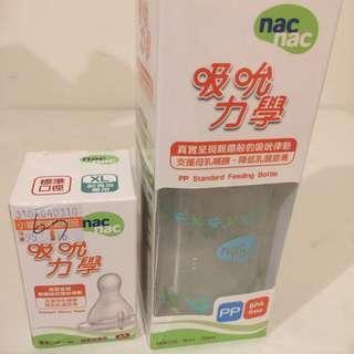 Nac. Nac 120ml。奶嘴L. XL各一個。全新未使用過