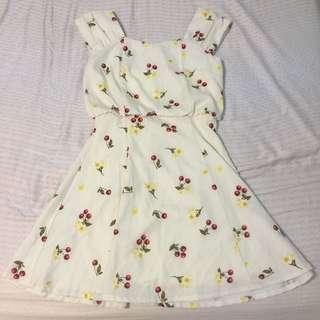 日本品牌 Titty&co.鵝黃氣質櫻桃🍒洋裝