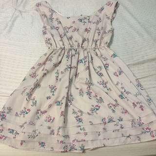 日本品牌 Mercuryduo 淡紫氣質花朵蝴蝶結洋裝