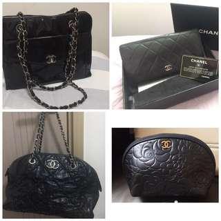 Chanel black shoulder bag chain bag cosmetic bag wallet authentic