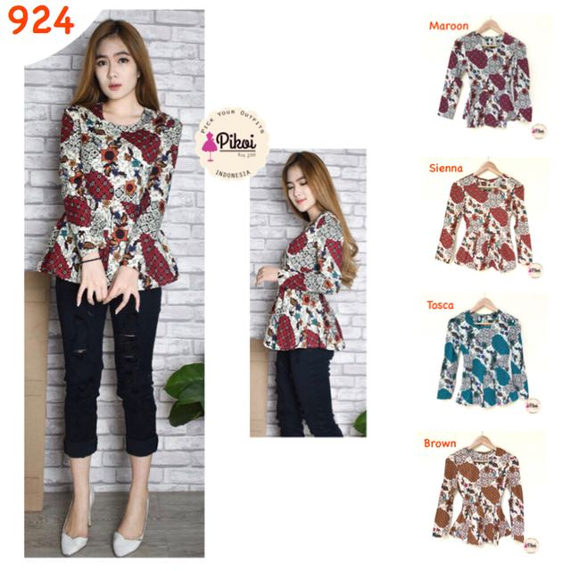 924 Batik Lengan Panjang   Baju Batik Wanita Modern   Atasan Batik Kantor    Kerja   Hijabers   Navy Maroon aa26542028