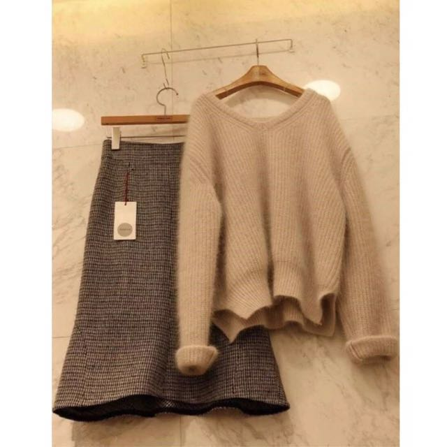 (全新)針織毛衣+格子魚尾裙