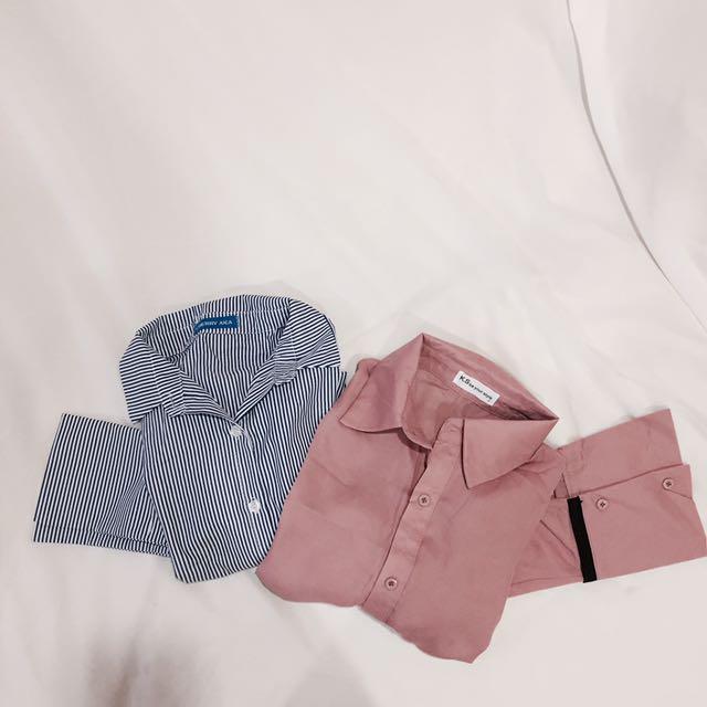 買一送一💖藍條紋寬袖襯衫