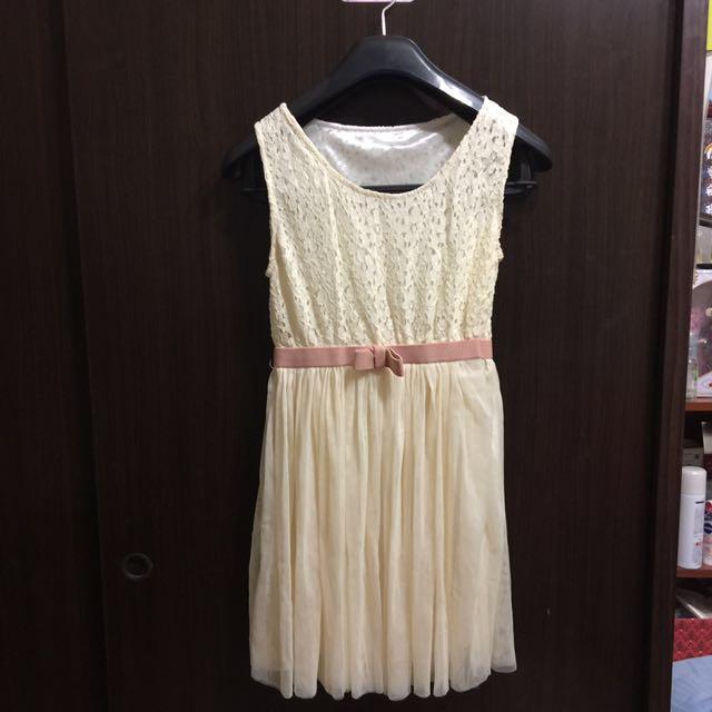 蕾絲雪紡洋裝-全新