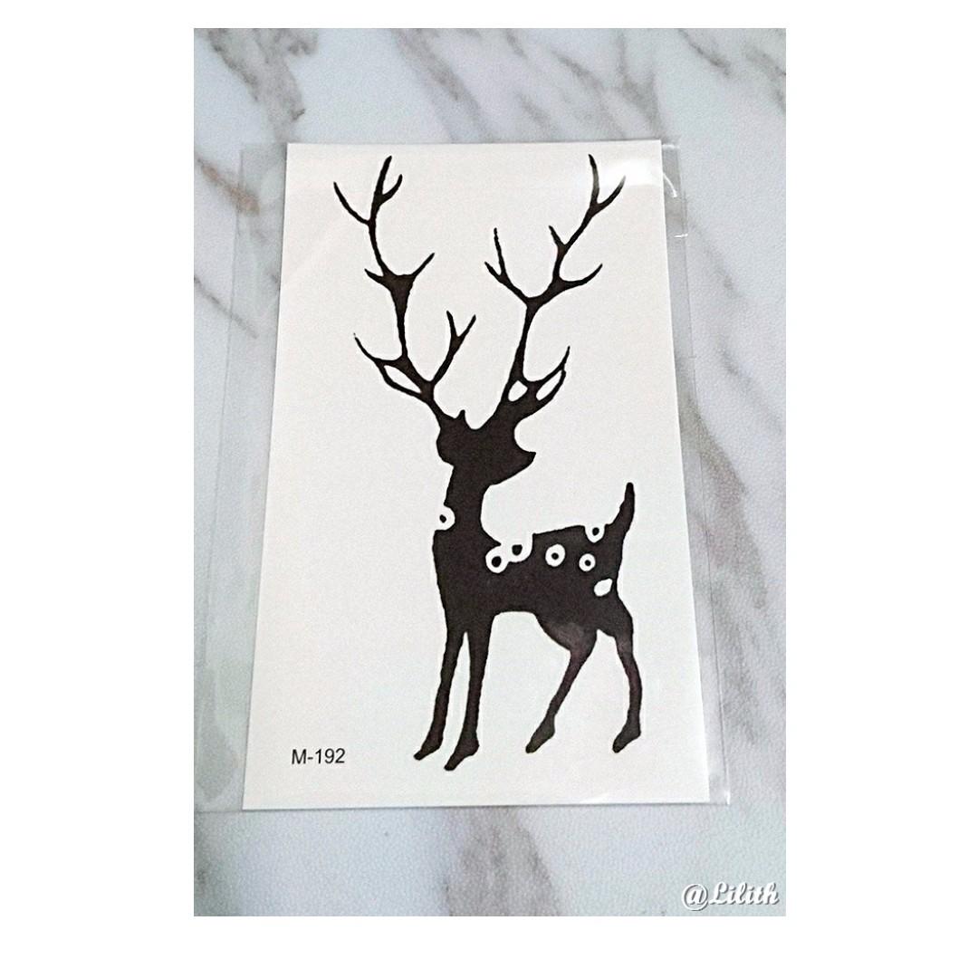 預+現❣ 小清新黑白防水持久小鹿紋身貼