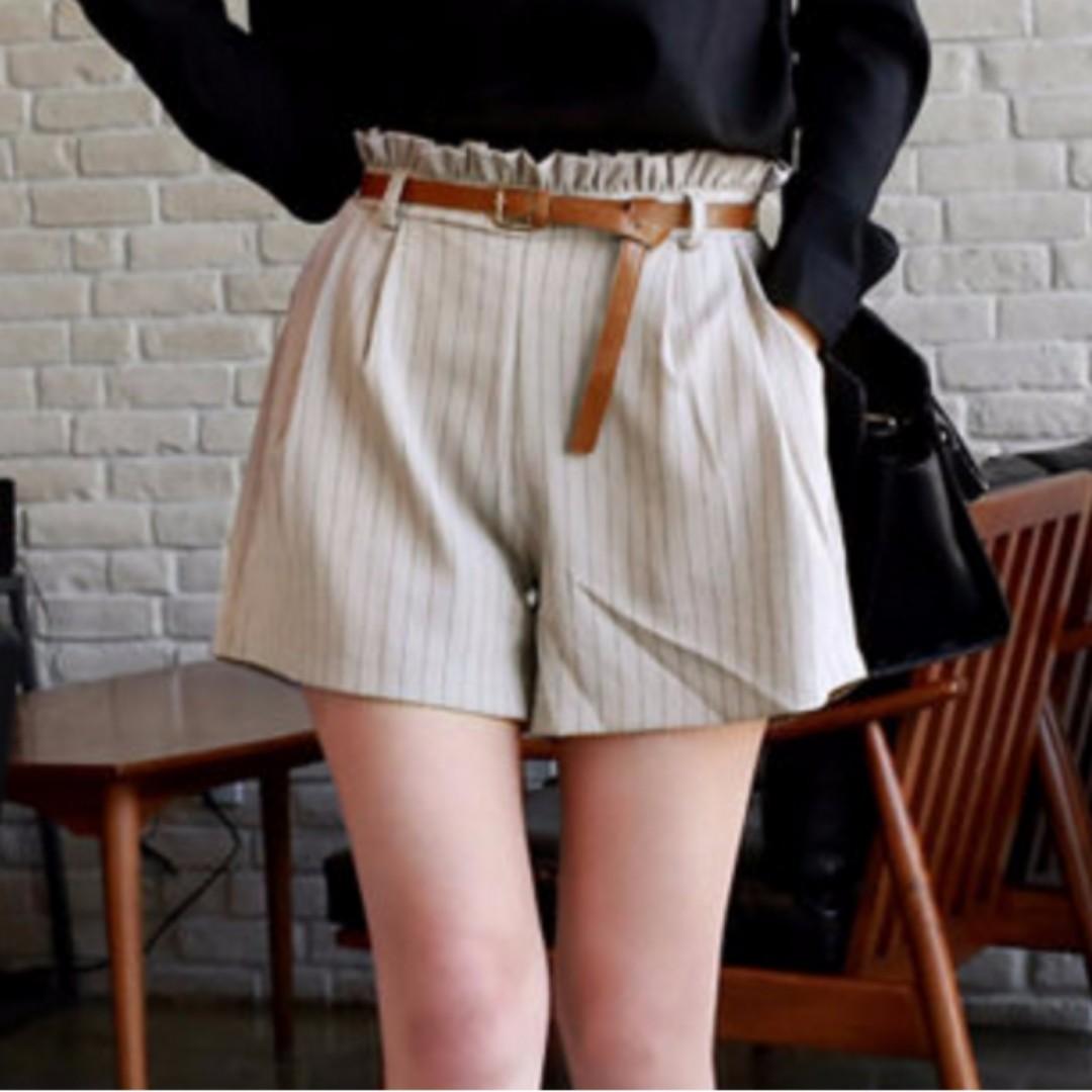條紋 顯瘦短褲 3L杏色 #交換最划算