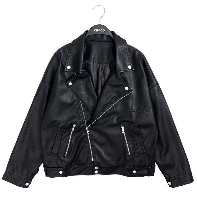皮衣 翻領皮衣 騎士皮衣 皮衣夾克 寬鬆皮衣 vii&co