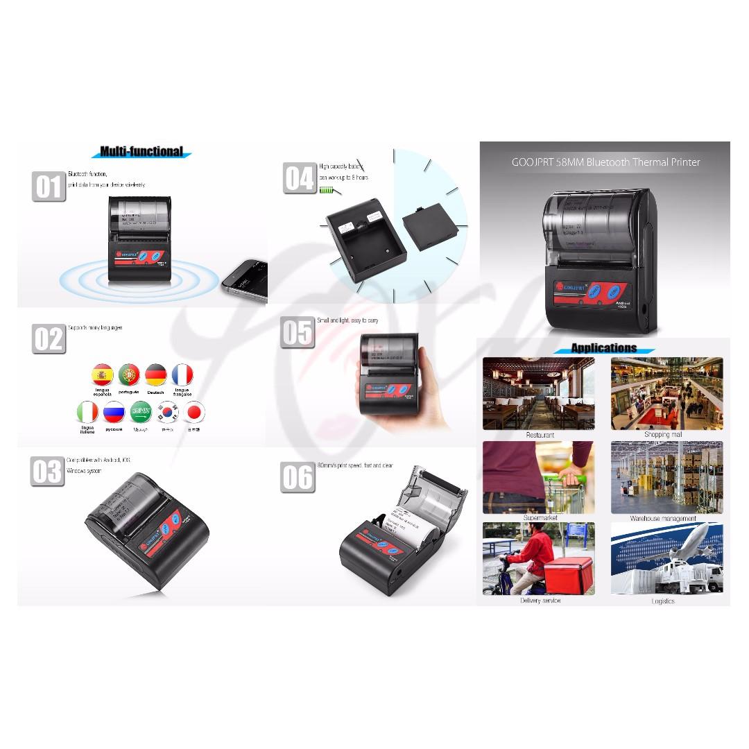 💯 GOOJPRT MTP - II 58MM Mini Bluetooth Thermal Portable