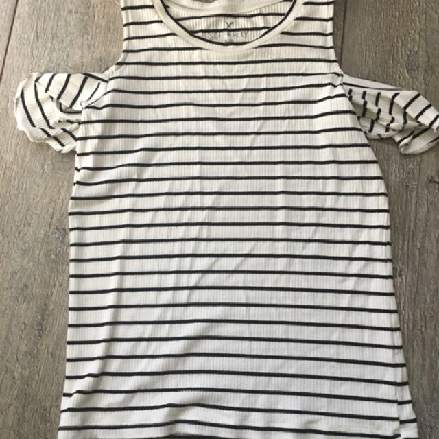 American eagle striped cold shoulder top size xs