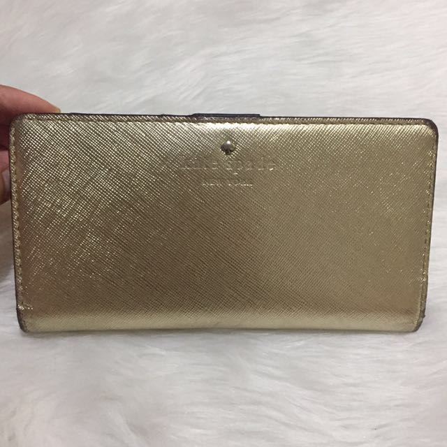 Authentic Kate Spade Gold Saffiano Leather Wallet