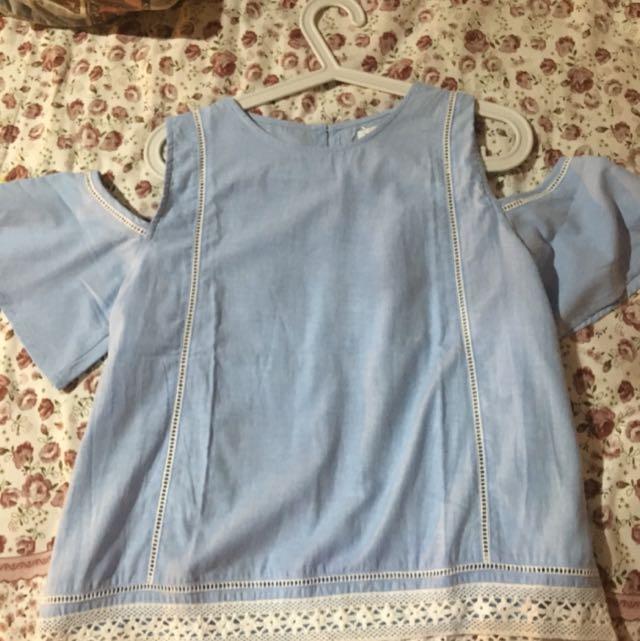 Baby blue off shoulder cotton ink