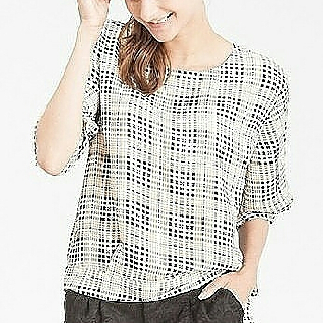 beige tartan long sleeve side tied cream blouse atasan wanita blanik