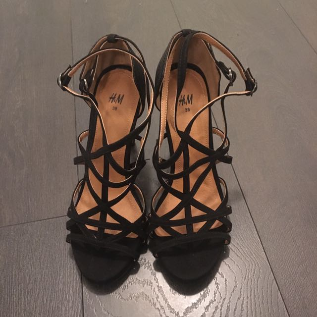 Black cage-style heels