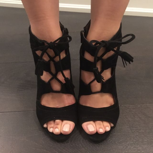 Black suede lace up heels