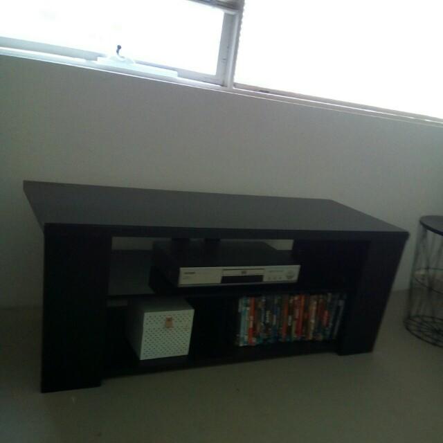 Black glass top & shelf TV unit