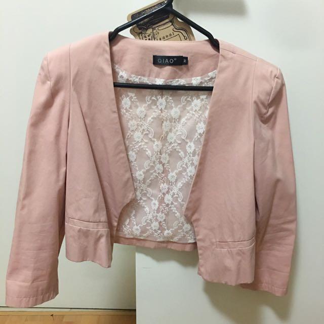 Blush cropped blazer (size M)