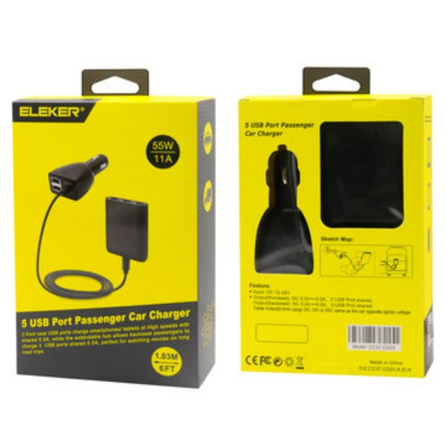 Brand New ELEKER 5 USB PORT PASSENGER  CAR CHARGER Selling At %19.90