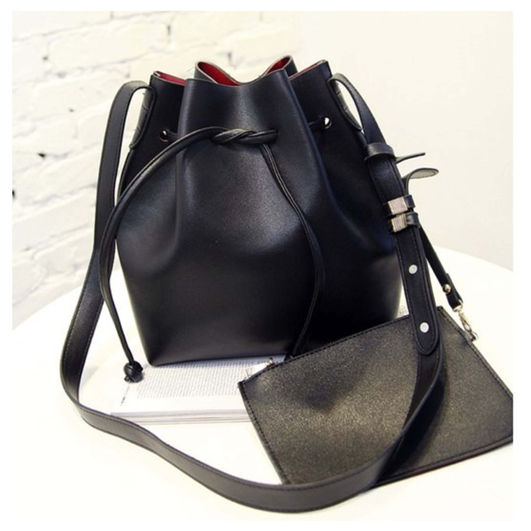 Brand New Ladies Black with Red Interior Bucket Bag / Minimalist / Sling Bag with Matching Wristlet