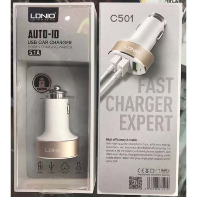 Brand New LDNIO 5.1A AUTO-ID USB Car Charger Selling At $12.90