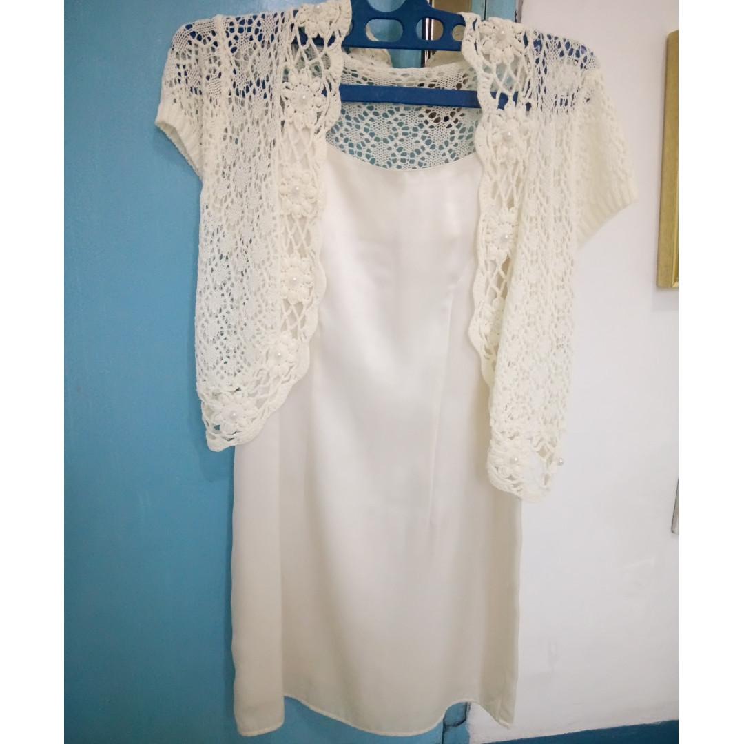 broken white mini dress and cardigan
