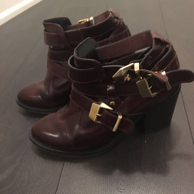 Burgundy bootie with gold buckles (TBA)