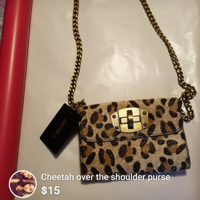 Cheetah over the shoulder purse