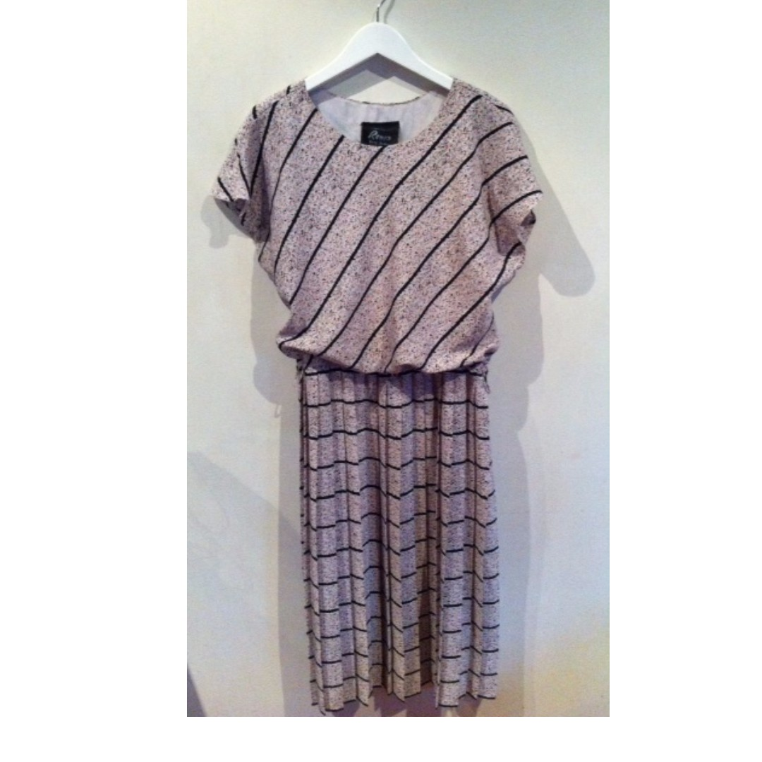 Cute Retro Floral and Striped Dress Size 12