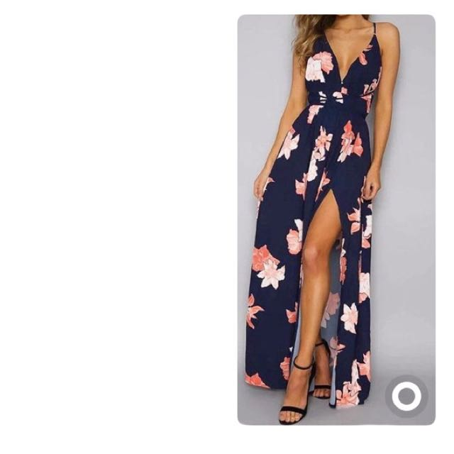 Formal Floral Maxi dress with split