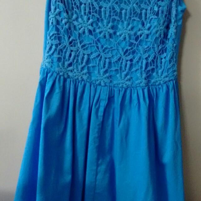 Glassons blue lace dress-8