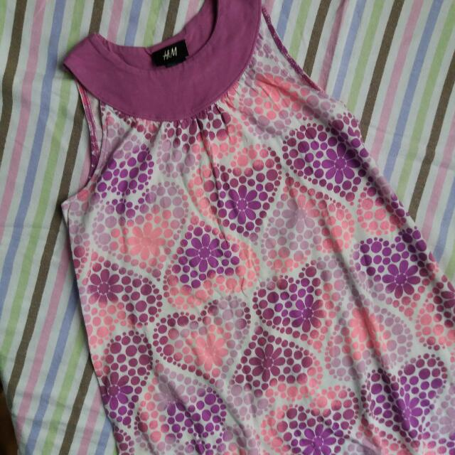 H&M Hearts Pattern Dress For 5-8YO Baby Girl