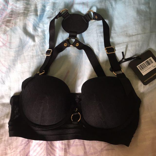 Honey Birdette harnessed black bra