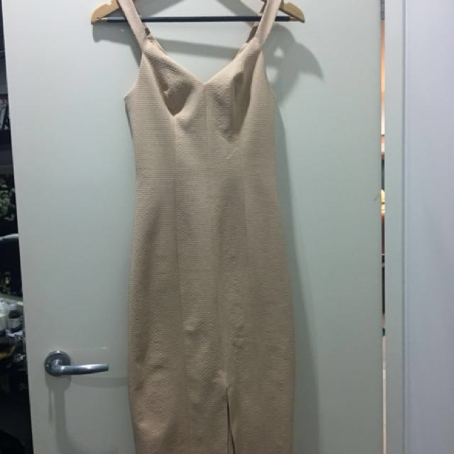 Kookai square weave dress nude colour size 34