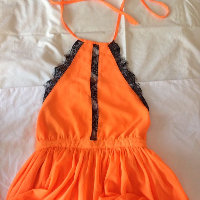 Laced Orange Playsuit