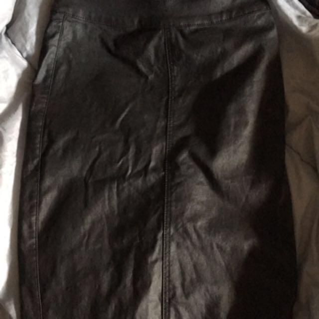 leatherlike midi skirt