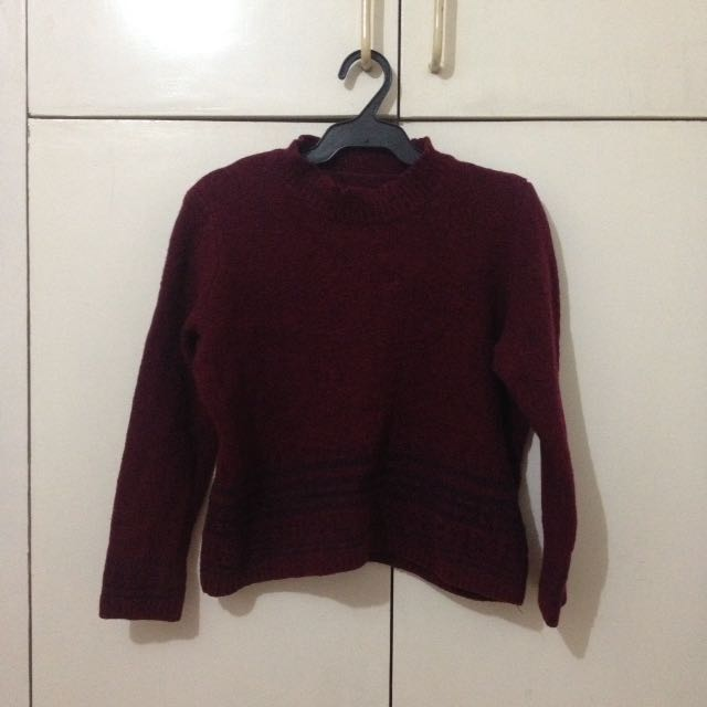 Maroon ribbed long sleeves top