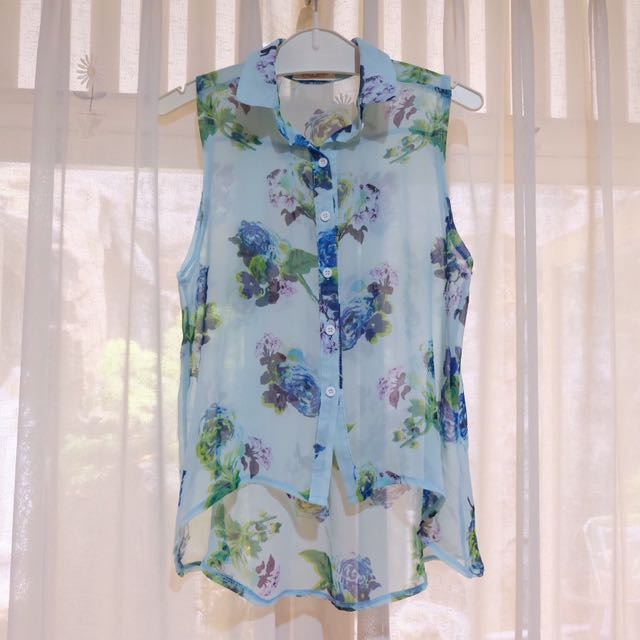 Mint Floral Sheer Sleeveless Top