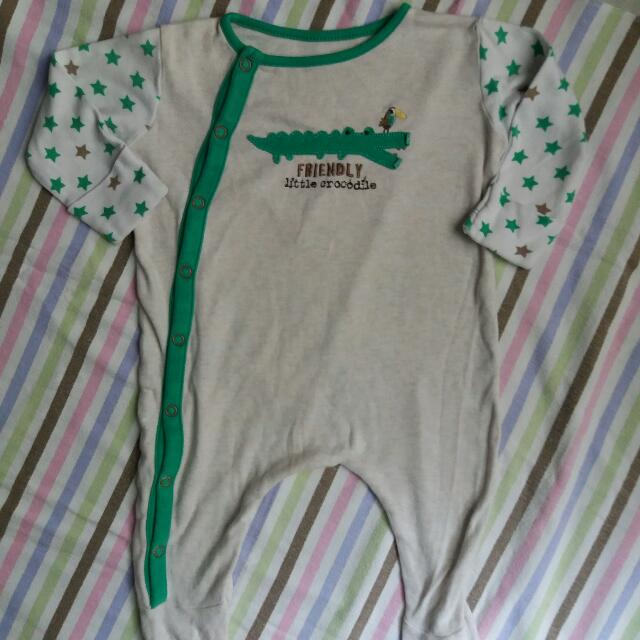 Mothercare Croco Overall Onesie For 3-6M Baby Boy