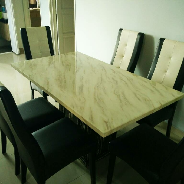 New Marble 6 Seater Dining Table Set