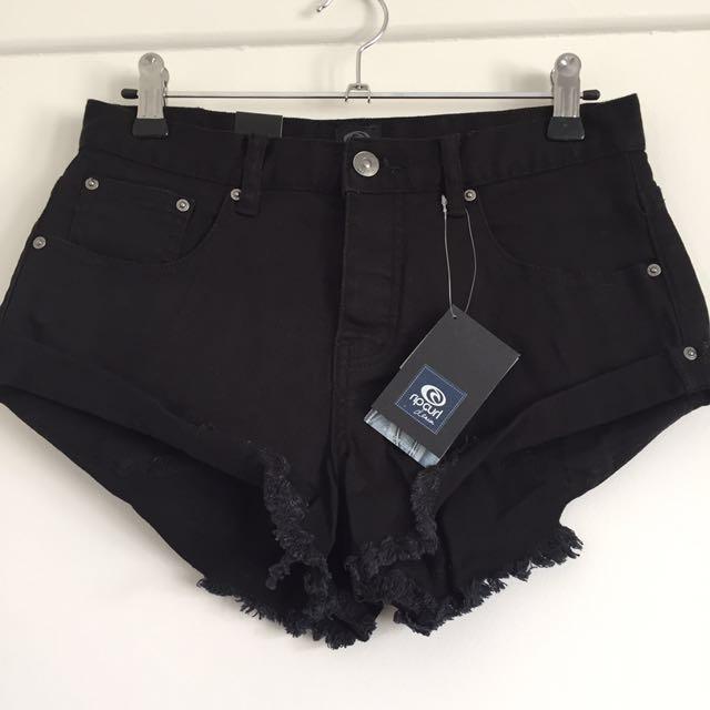 NEW x2 Ripcurl Black Denim Shorts S6