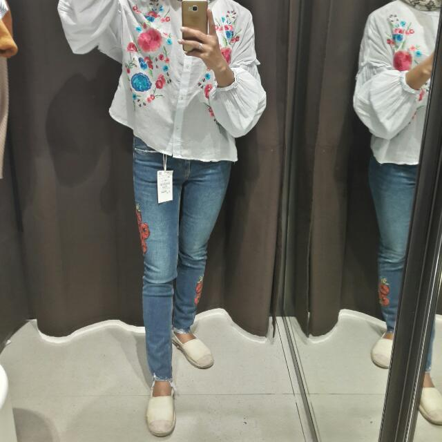 New Zara Skinny Pants WiTh Embroidery
