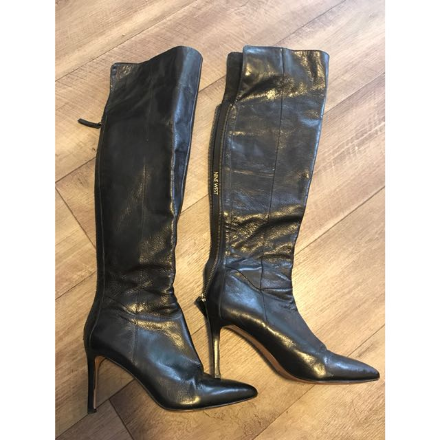 Nine West black leather boots 8