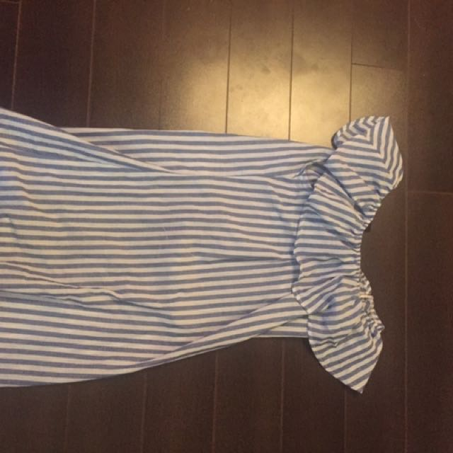 Off the shoulder striped dress with tags
