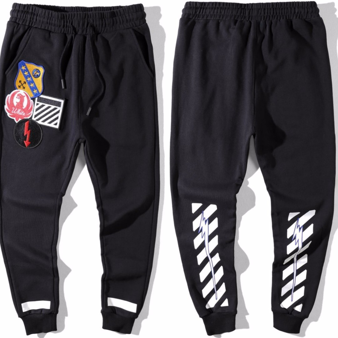 d0081b61 Off White x Virgil Abloh Embroidered Patches Pants, Men's Fashion ...