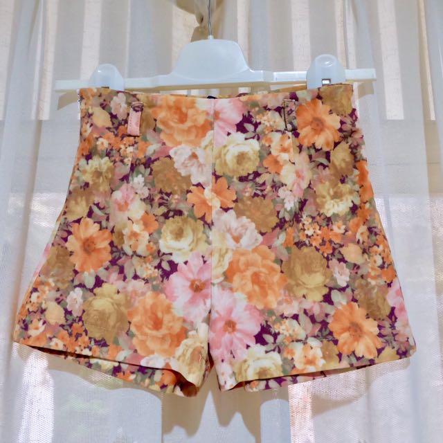 Orange Floral Highwaist Pants