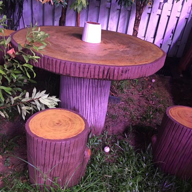 Outdoor Stone Stool N Table Furniture, Outdoor Stone Table And Chairs Singapore