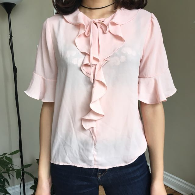 Pink silky blouse